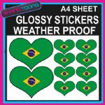 LOVE BRAZIL HEART FLAG GRAPHICS CAR BUMPER WEATHER PROOF STICKERS MIXED SIZES